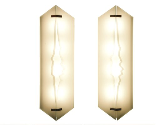 Glass And Brass Wall Sconce From Fontana Arte, 1960s 2