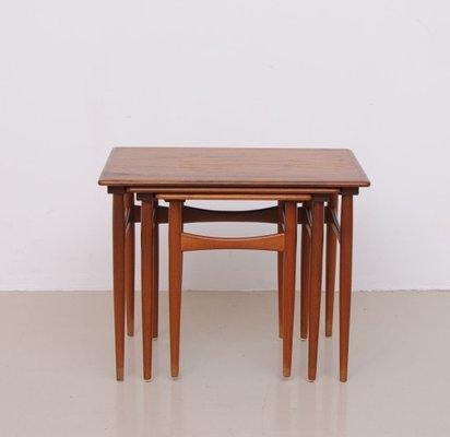 tables gigognes vintage en teck brun danemark 2 - Table Gigogne Vintage