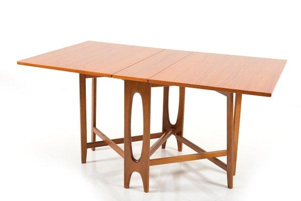 Antique Drop Leaf Table >> Vintage Drop Leaf Teak Dining Table By Bendt Winge For Kleppes Mobelfabrikk