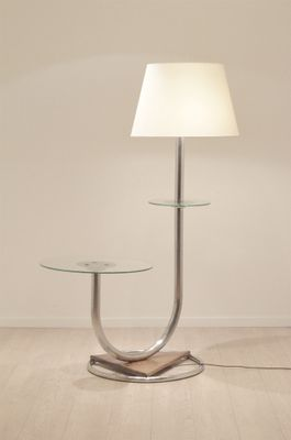 Large Art Deco Chromium Walnut Floor Lamp With Side Table For Sale