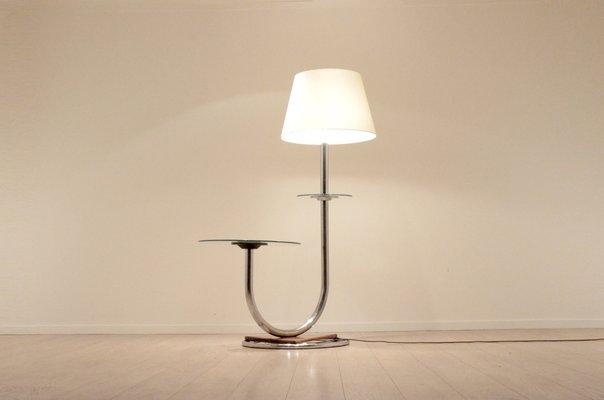Large Art Deco Chromium U0026 Walnut Floor Lamp With Side Table 2