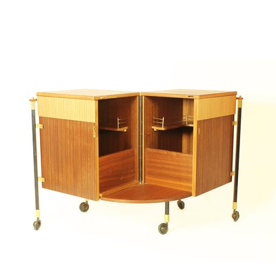Spanish Zebrano Wood And Teak Bar Cabinet 1960s 2