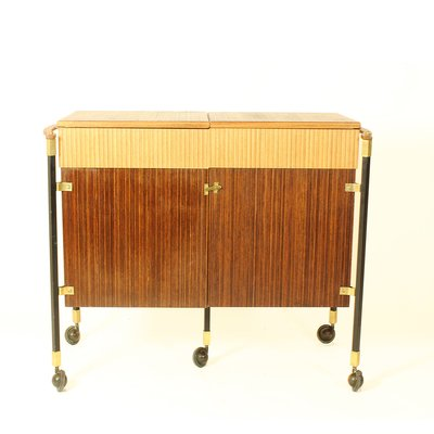 Spanish Zebrano Wood And Teak Bar Cabinet 1960s 1