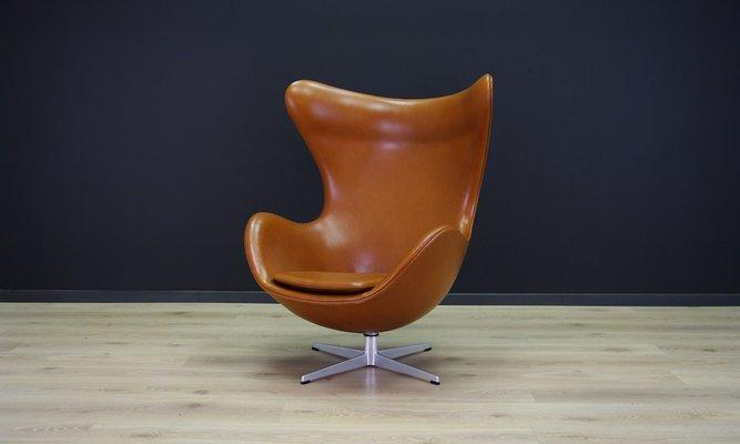 Cognacfarbener Leder Egg Chair Von Arne Jacobsen Für Fritz Hansen, 1960er 1