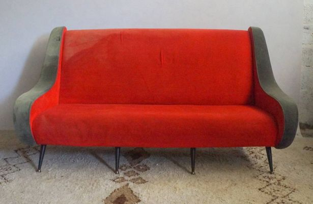 Französisches Rotes Sofa 1950er Bei Pamono Kaufen