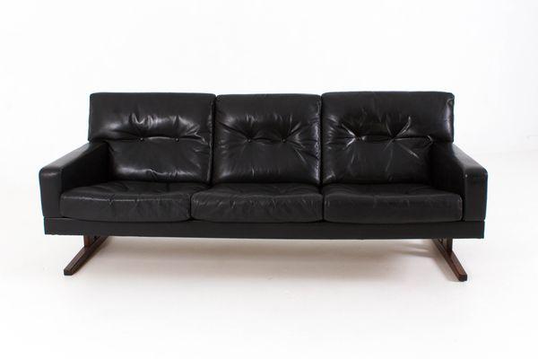 Incroyable Danish Three Seater Leather Sofa, 1960s 1