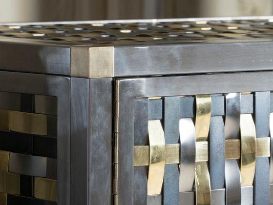 Intreccio Steel, Iron And Brass Band Cabinet By Franco Mariotti For  Edizioni Flair, 2017