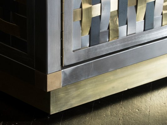 Incroyable Intreccio Steel, Iron And Brass Band Cabinet By Franco Mariotti For  Edizioni Flair, 2017
