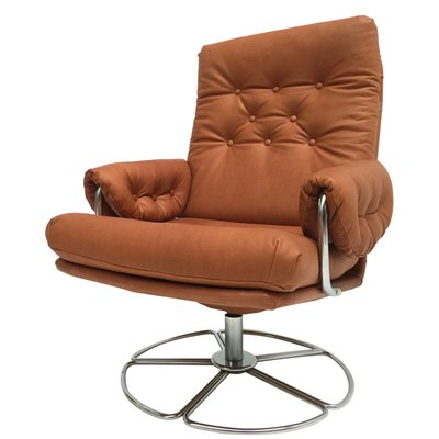 Swedish Leather U0026 Chrome Swivel Easy Chair By Bruno Mathsson For Dux, ...