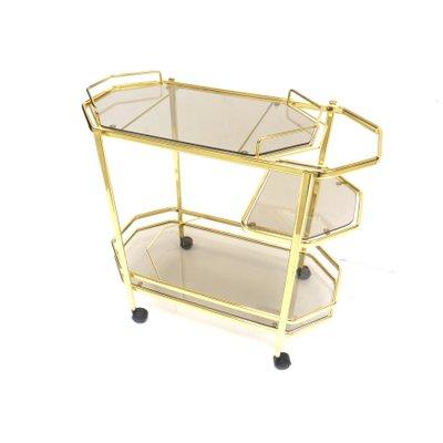 Vintage Bar Cart >> Vintage Hollywood Regency Style Glass Brass Bar Cart