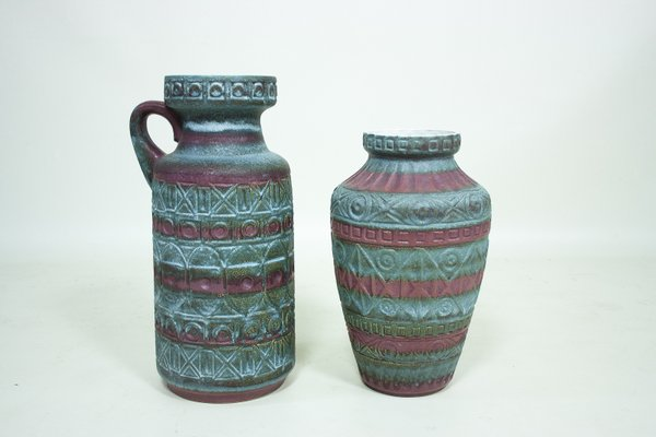 Vintage West German Ceramic Vases By Bodo Mans For Bay Keramik Set