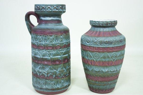 Vintage West German Ceramic Vases By Bodo Mans For Bay Keramik Set