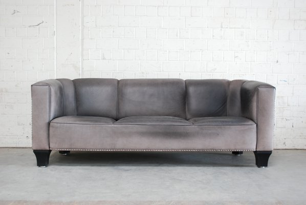 Vintage Palais Stoclet Leather Sofa By Josef Hoffmann For Wittmann 1980s 1