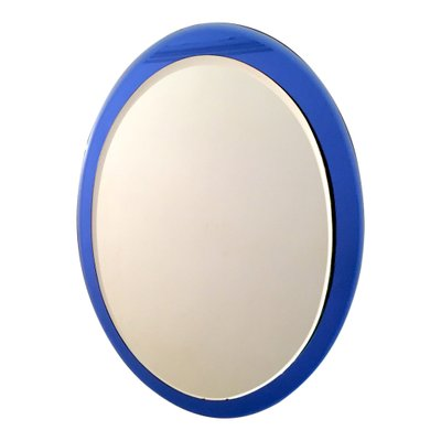 Italian Mirror with Blue Glass Frame for sale at Pamono