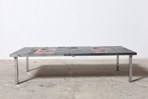 Large Low Rectangular Art Ceramic Tile Table By Pia Manu, 1960s