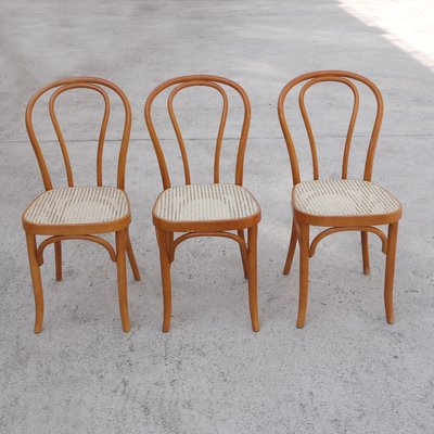 Vintage Bentwood Rattan Dining Chairs Set Of 3 For Sale At Pamono