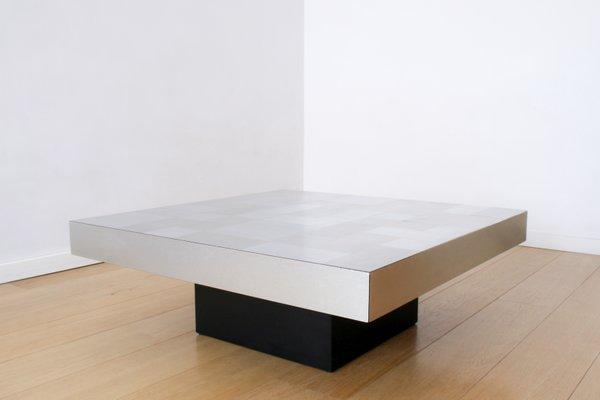 949cda8c5f387 Table Basse Mid-Century Graphique en Aluminium Brossé par Travail Français
