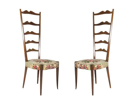 Italian High Back Chairs From Minotti, 1950s, Set Of 2 1