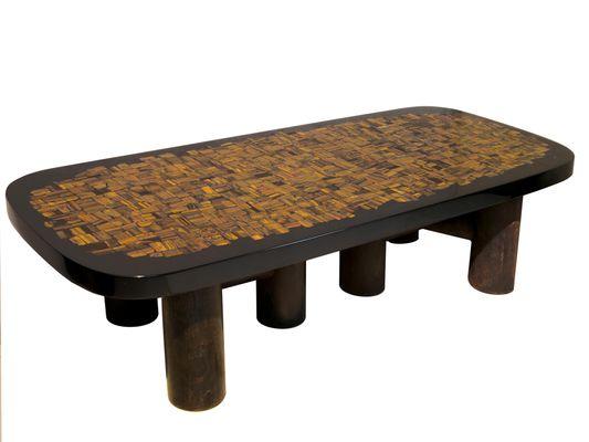 Coffee Table In Tigeru0027s Eye Resin By Etienne Allemeersch, ...