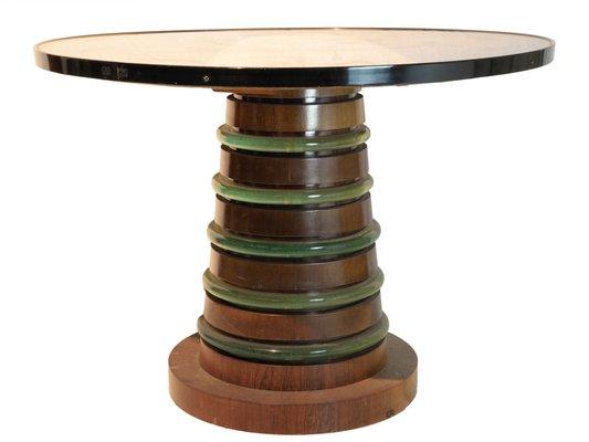 Tavoli In Legno E Vetro : Tavolo con piedistallo in legno e ripiano in vetro fumé di fontana