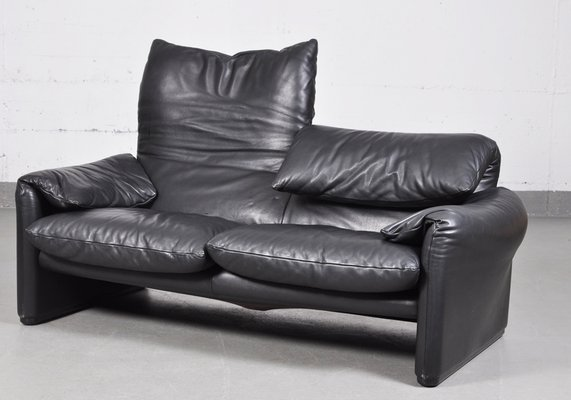 Vintage Maralunga Black Leather Two-Seater Sofa by Vico Magistretti for Cassina 2 & Vintage Maralunga Black Leather Two-Seater Sofa by Vico Magistretti ...