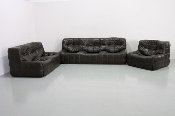 Vintage Kashima Leder Wohnzimmer Set In Olivgrün Von Michel Ducaroy Für  Ligne Roset, 3er Set