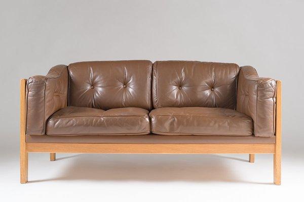 Excellent Swedish Monte Carlo Sofa In Oak And Brown Leather By Ingvar Stockum For Futura Mobler 1965 Creativecarmelina Interior Chair Design Creativecarmelinacom