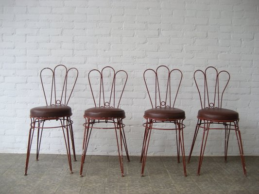 Vintage Metal Chairs With Leatherette Upholstery Set Of 4 1