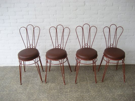 Vintage Metal Chairs With Leatherette Upholstery Set Of 4 2