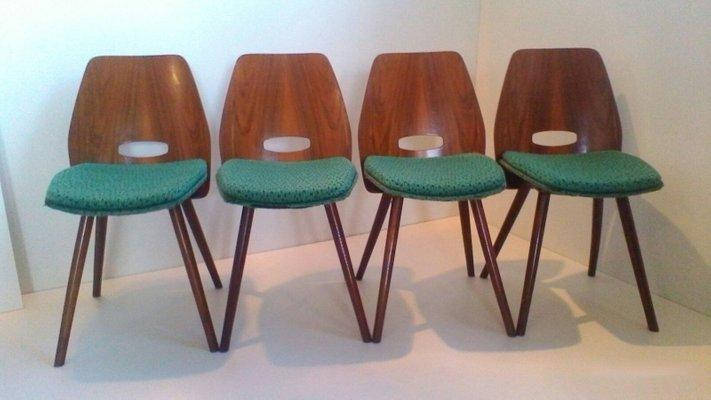 chaises de salle manger art dco en htre de tatra pravenec set de 4