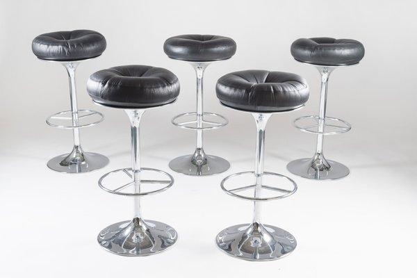 Astounding Swedish Chrome And Leather Bar Stools From Johanson Design 1970S Set Of 5 Forskolin Free Trial Chair Design Images Forskolin Free Trialorg
