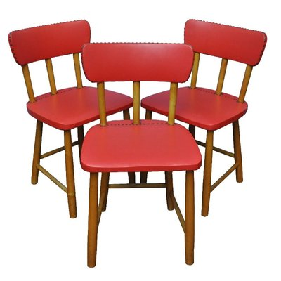 Red Swedish Chairs, 1950s, Set Of 3 1
