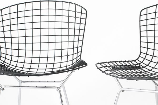 Genial Mid Century Wire Chairs With Black Seats U0026 Chromed Bases By Harry Bertoia  For Knoll