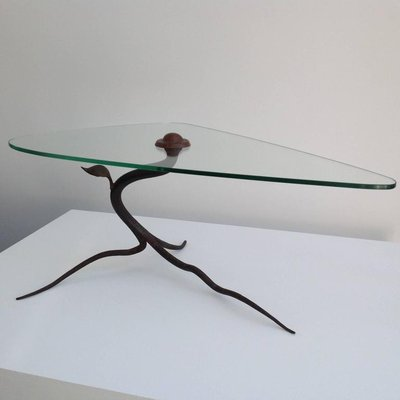Vintage Wrought Iron And Glass Coffee Table