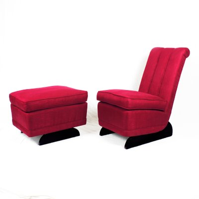 Art Deco Low Chair U0026 Ottoman, ...