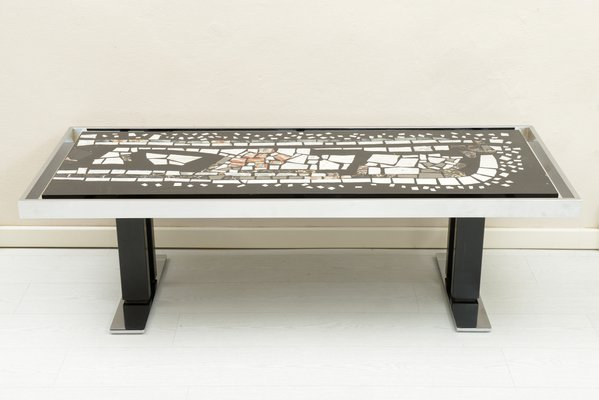 Mid Century Marble Mosaic And Chromed Metal Coffee Table, 1960s 1