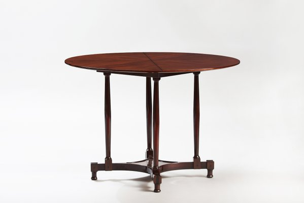 Vintage Italian Mahogany Round Dining Table For Sale At Pamono