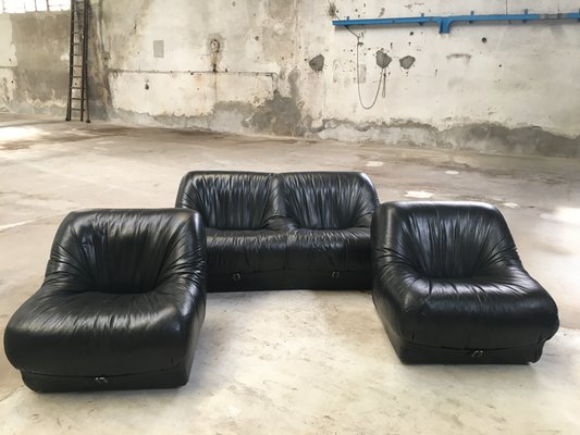 Italian Leather Living Room Set, 1970s 2