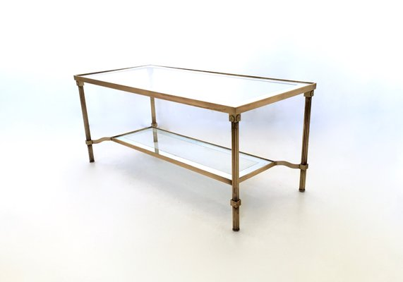 Miraculous Italian Two Tiered Brass Glass Coffee Table 1950S Ocoug Best Dining Table And Chair Ideas Images Ocougorg
