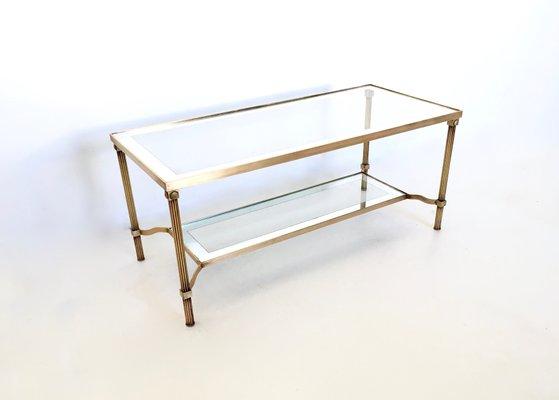 Italian Two Tiered Brass Glass Coffee Table 1950s Bei Pamono Kaufen