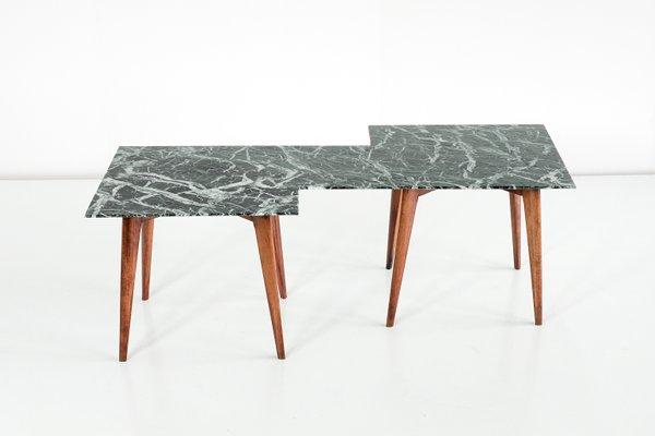 Geometric Italian Coffee Table With Green Marble Top 3