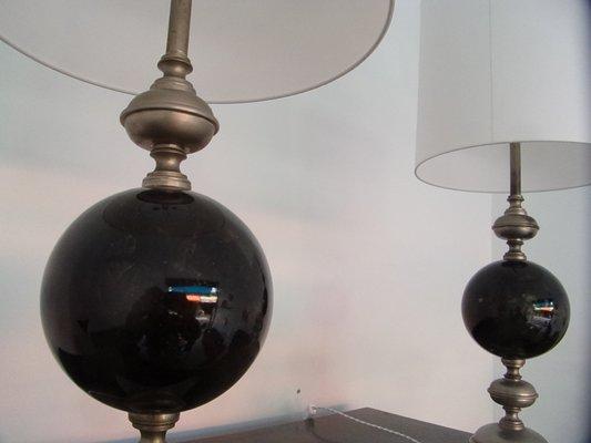 Lampes de bureau mid century noires en laiton argenté de maison