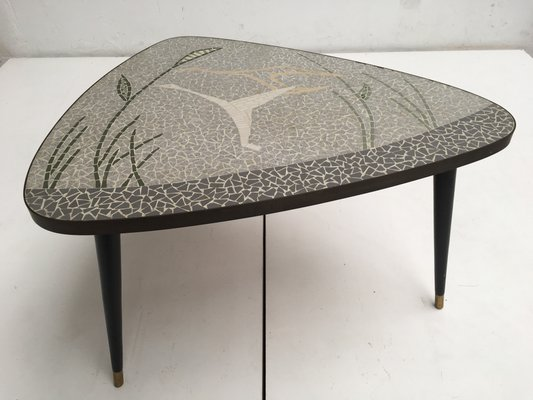 German Brass U0026 Mosaic Inlay Coffee Table Depicting A Flying Bird, ...