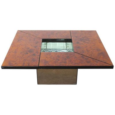 Vintage Burl Wood Lacquered Multi Functional Coffee Table By Paul Michel 1