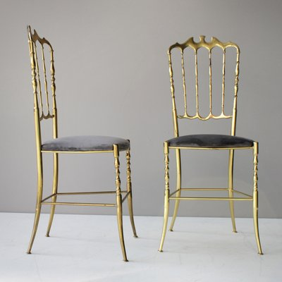 Vintage Brass Italian Chiavari Chairs, Set Of 2 1