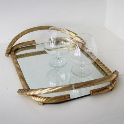 Vintage Brass Rope /& Glass Soap Dish