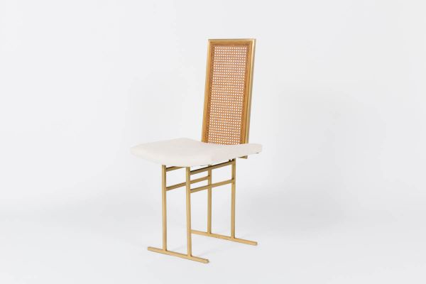 Vergoldete Metall Stühle mit Beigen Sitzen von Flox, 1970, 8er Set ...