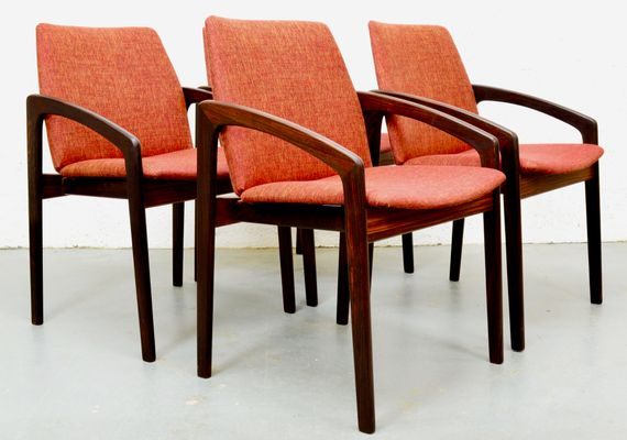 Mid Century Rosewood Danish Chairs By Kai Kristiansen For Korup, Set Of 4 1