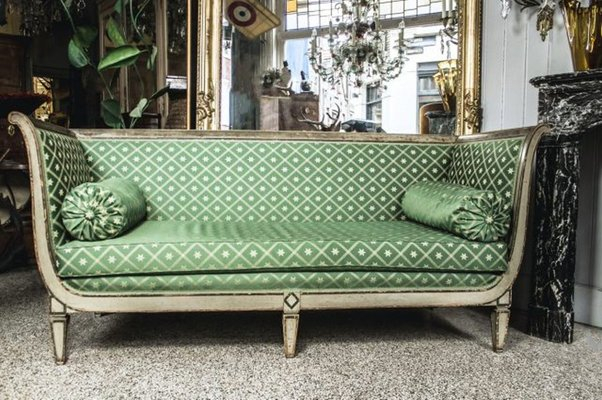 Antique French Empire Sofa With Green Silk Upholstery 7