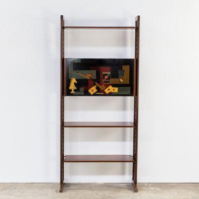 Teak & Metall Regalsystem, 1950er bei Pamono kaufen